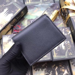 Gucci Zumi Card Case Wallet In Black Grainy Leather