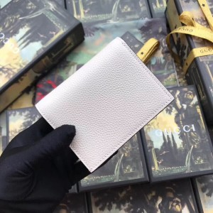 Gucci Zumi Card Case Wallet In White Grainy Leather