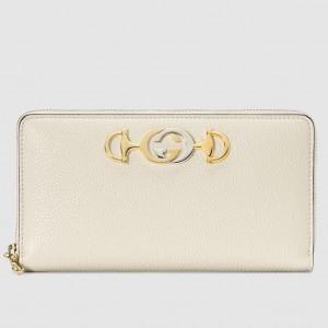 Gucci Zumi Zip Around Wallet In White Grainy Leather