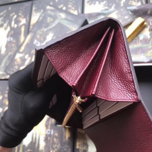 Gucci Zumi Continental Wallet In Burgundy Grainy Leather