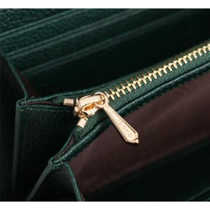 Gucci Zumi Continental Wallet In Green Grainy Leather