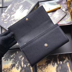 Gucci Zumi Continental Wallet In Black Grainy Leather