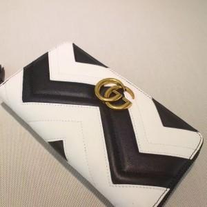 Gucci Black/White GG Marmont Zip Around Wallet