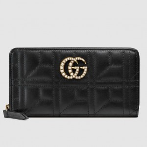 Gucci Black GG Marmont Zip Around Wallet With Pearls