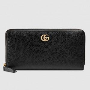 Gucci Black Leather Zip Around Wallet