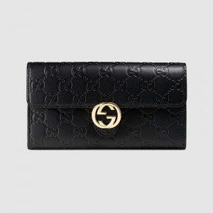 Gucci Icon Continental Wallet In Black Guccissima Leather