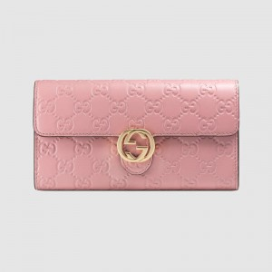 Gucci Icon Continental Wallet In Pink Guccissima Leather