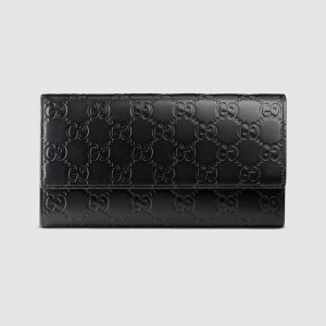 Gucci Continental Flap Wallet In Black Guccissima Leather