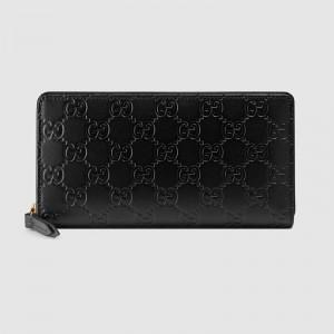 Gucci Zip Around Wallet In Black Guccissima Leather