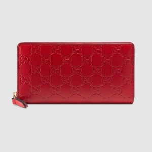 Gucci Zip Around Wallet In Red Guccissima Leather