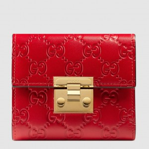 Gucci Padlock Wallet In Red Signature Leather