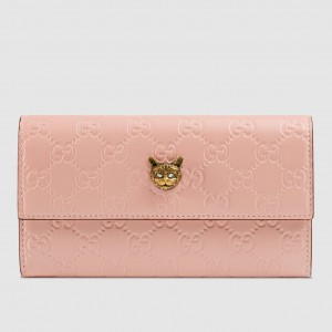 Gucci Continental Wallet With Cat In Pink Signature Leather