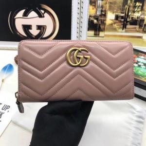 Gucci Dusty Pink GG Marmont Zip Around Wallet