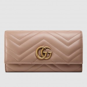 Gucci Dusty Pink GG Marmont Continental Wallet