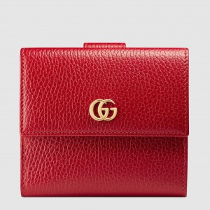 Gucci French Flap Wallet In Red Leather