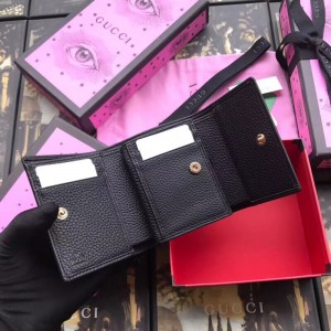Gucci Black GG Marmont Compact Wallet