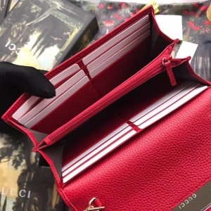 Gucci GG Marmont Chain Wallet In Red Leather