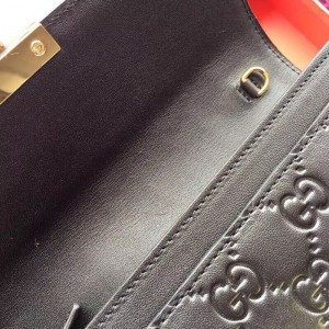 Gucci Padlock Continental Chain Wallet In Black Gucci Signature Leather