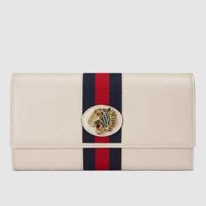 Gucci Rajah Continental Wallet In White Leather