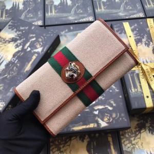 Gucci Rajah Continental Wallet In Woven Fabric