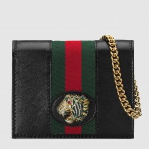 Gucci Black Rajah Chain Card Case Wallet
