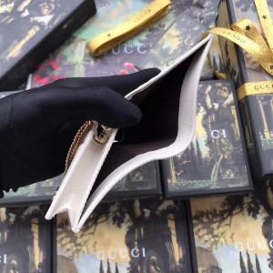 Gucci White Rajah Chain Card Case Wallet