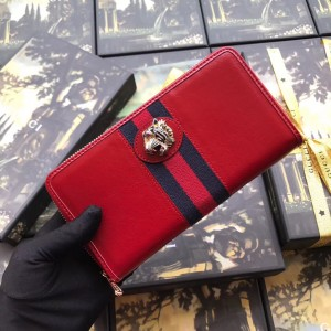 Gucci Rajah Zip Around Wallet In Red Leather