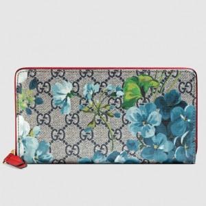 Gucci Blue GG Blooms Zip Around Wallet