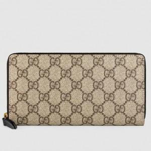 Gucci Beige GG Supreme Zip Around Wallet