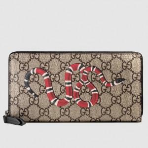 Gucci Kingsnake Print GG Supreme Zip Around Wallet