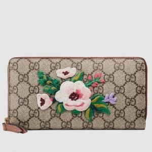 Gucci GG Supreme Floral Zip Around Wallet