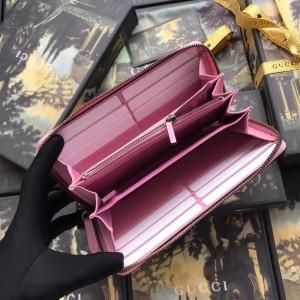 Gucci GG Supreme Zip Around Wallet With Strawberry Print