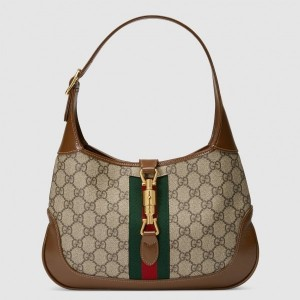 Gucci Beige Jackie 1961 Small Hobo Bag With Brown Trim