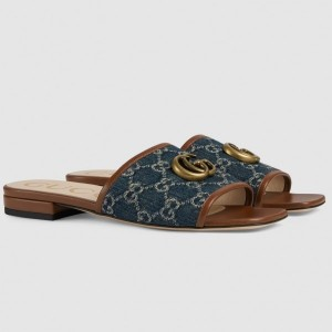 Gucci Slide Sandals In Blue GG Denim With Double G