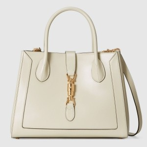 Gucci Jackie 1961 Medium Tote Bag In White Leather