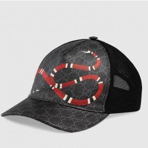 Gucci Black/grey GG Supreme canvas with Kingsnake print baseball hat