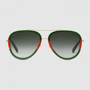 Gucci Aviator Metal Sunglasses 461704-2363
