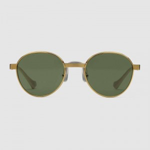 Gucci Round-frame gold and green sunglasses