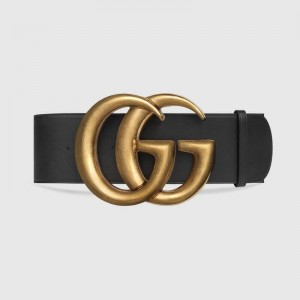 """Gucci 7CM(2.75"""") Wide Leather Belt With Double G"""