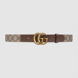 GG Beige/ebony GG Supreme and brown leather belt with Double G buckle