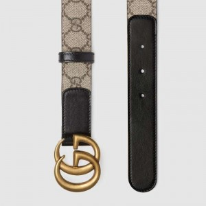 GG Beige/ebony GG Supreme and black leather belt with Double G buckle