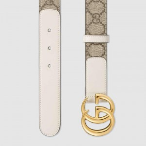 Gucci GG thin Marmont White leather details belt