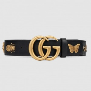 Gucci Black Leather Belt With Animal Studs