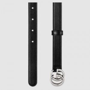 Gucci GG Marmont thin black leather belt