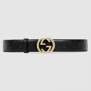 Gucci Black Gucci Signature leather with black leather detail belt