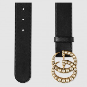 Gucci Black Leather belt with pearl Double G